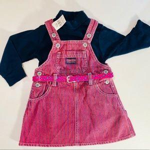 OshKosh Denim Pin Striped Dress& Turtleneck